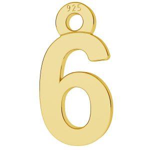 Císlice číslo 6 privesek, LK-0711 - 0,50