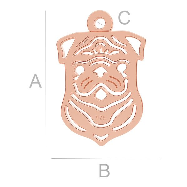 Mopslík pes přívěsek LK-1102 - 0,50