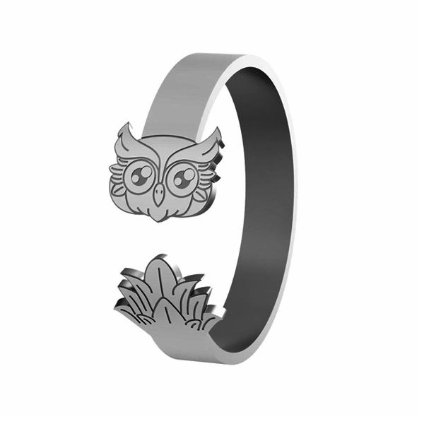 Sova prsteň, stříbrný, LK-1406 - 0,50