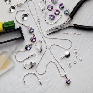 DIY náramek, stříbro 925, Swarovski, DIY with SILVEXCRAFT  NO.02001