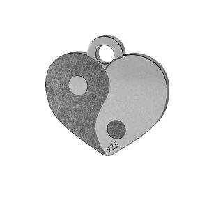 Yin Yang srdce přívěšek, stříbrno 925, LK-1479 - 0,50
