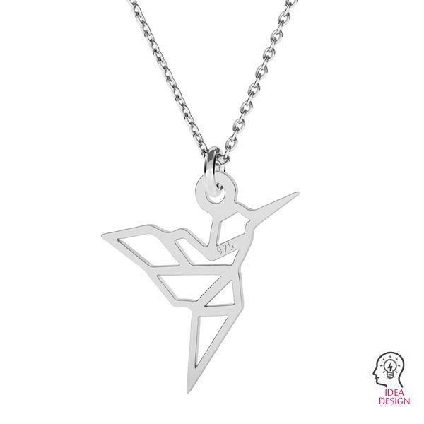 Origami kolibřík přívěšek stříbrný, LK-1503 - 0,50