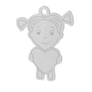 Dívka srdce přívěšek stříbrný, LKM-2047