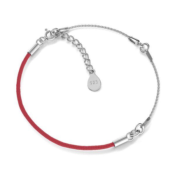 Náramek provázek, stříbrný 925, S-BRACELET 15 (RED)