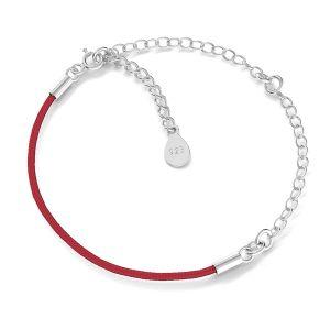 Náramek provázek, stříbrný 925, S-BRACELET 17 (RED)