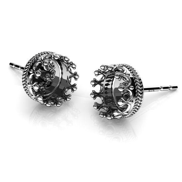 Koruna, náušnice z pryskyřice, stříbrný 925, ODL-00680 KLS