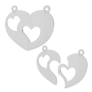 Rozdělené srdce přívěšek stříbrný, LKM-2046