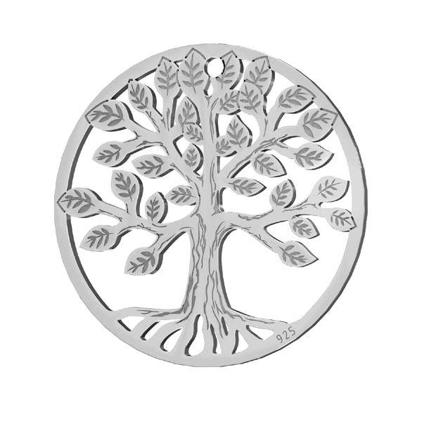 Přívěsek - Strom - Ažurový plíšek - Spojovací element *stříbro 925, LKM-2939 - 0,50 19x19 mm